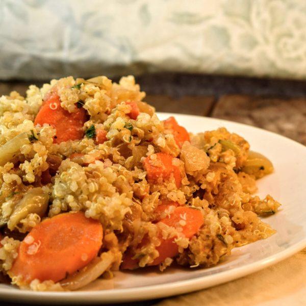 Quinoa & Garden Vegetables in Peanut Sauce